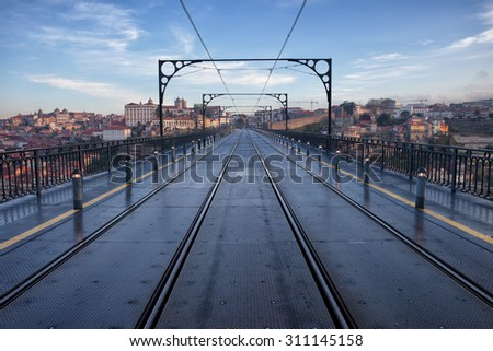 Porto in Portugal, view from the Dom Luiz I Bridge, rails of the city metro. - stock photo