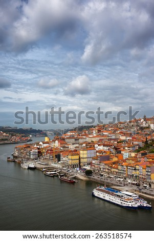 Porto in Portugal. View over historical city centre and Douro river from above. - stock photo