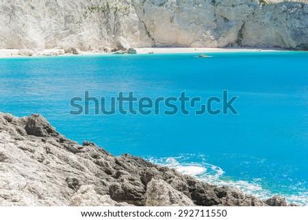 Porto Katsiki beach in Lefkada island (Greece) - stock photo