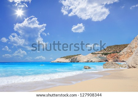 Porto Katsiki beach on a summer day, Lefkada island, Greece - stock photo