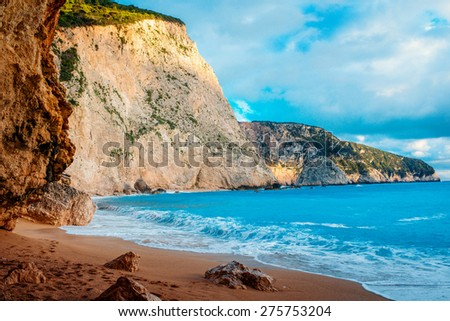 Porto Katsiki beach on Lefkada island in Greece - stock photo