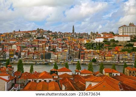 Porto old town and river Douro. Portugal - stock photo