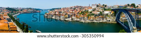 Porto old town skyline on the Douro River - stock photo