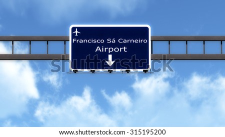 Porto Portugal Airport Highway Road Sign 3D Illustration