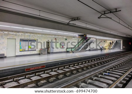 PORTO, PORTUGAL - APRIL 16, 2017: Metro in Porto, first line of the system opened in 2002. Underground station Sao Bento.