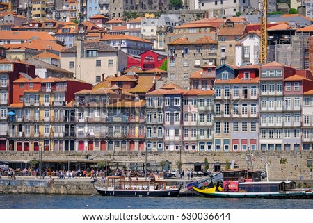 PORTO, PORTUGAL - APRIL 23, 2017: Panoramic view of the beautiful city of Porto cut by its River Douro