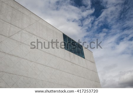 PORTO, PORTUGAL - AUGUST 31, 2015: Architectural detail of House of Music building (Casa da Musica), cultural institution and famous concert hall designed by Dutch architect Rem KoolHaas.