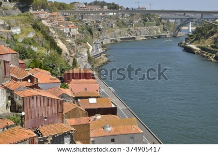 PORTO, PORTUGAL - AUGUST 7: Bridges over the Douro river in Porto, Portugal on August 7, 2015.