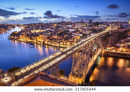 Porto, Portugal cityscape over the Douro River and Dom Louis Bridge. - stock photo
