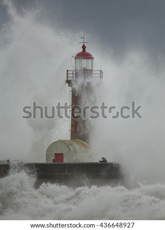 Porto, Portugal - February 7, 2016: Big winter storm in the mouth of Douro river