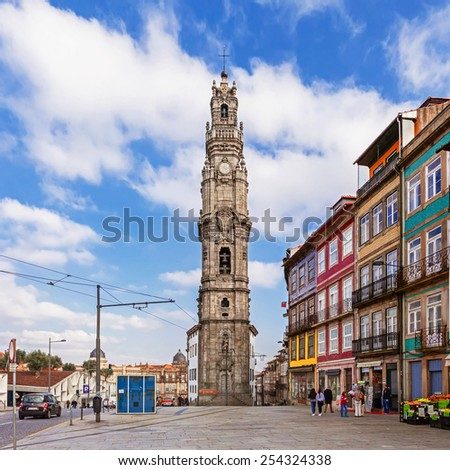 Porto, Portugal. January 5, 2015: The iconic Clerigos Tower, one of the landmarks and symbols of the city. Unesco World Heritage Site - stock photo