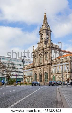 Porto, Portugal. January 5, 2015: Trindade Church. 19th century Neoclassical architecture. Unesco World Heritage Site - stock photo