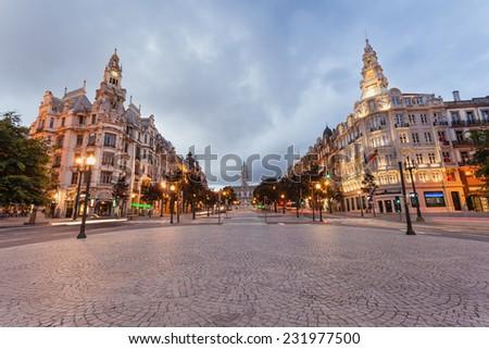 PORTO, PORTUGAL - JULY 02: Liberdade Square on July 02, 2014 in Porto, Portugal - stock photo