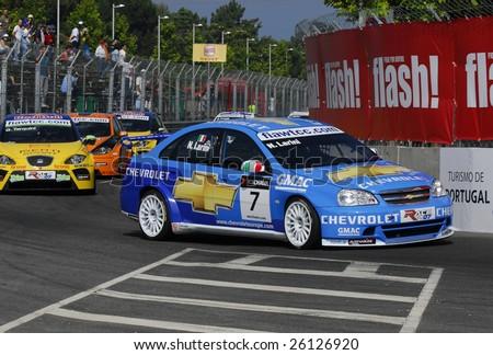 PORTO, PORTUGAL - JULY 8: N.Larini of ITA in his Chevrolet Lacetti participates in the FIA WORDL TOURING CAR CHAMPIONSHIP  on July 8, 2007 in Porto, Portugal. - stock photo