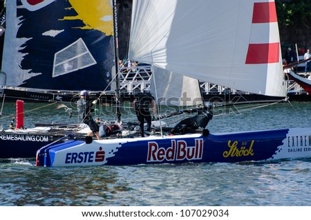 PORTO, PORTUGAL - JULY 07: Red Bull Sailing Team compete in the Extreme Sailing Series boat race on july 07, 2012 in Porto, Portugal.