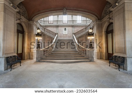 PORTO, PORTUGAL - JULY 02: The Palacio da Bolsa (Stock Exchange Palace) is a historical building on July 02, 2014 in Porto, Portugal - stock photo