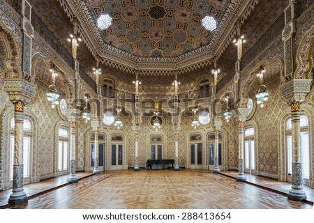 PORTO, PORTUGAL - JUNE 30: Decor at the Palacio da Bolsa (Stock Exchange Palace) is a historical building on June 30, 2014 in Porto, Portugal - stock photo