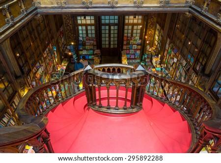 PORTO, PORTUGAL - JUNE, 12: Famous bookstore Livraria Lello interior on June 12, 2015 in Porto, Portugal - stock photo