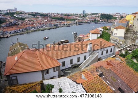 PORTO, PORTUGAL -15 JUNE 2016-View of Porto, the second largest city in Portugal, along the Douro River. The historic center of Porto is a UNESCO World Heritage site.