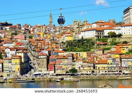 PORTO PORTUGAL, MARCH 2015. Old colorful houses in old part of Porto and cable car over  Douro river