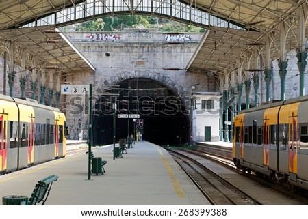 Porto, Portugal - March 23, 2015: Sao Bento railway station in a sunny day seeing the tunnel - stock photo