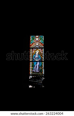 Porto, Portugal - March 23, 2015: 1920 stained glass window from Congregados church, downtown area, designed by the artist Robert Leone. - stock photo
