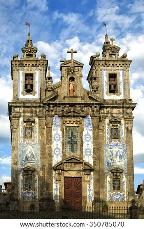 PORTO-PORTUGAL NOVEMBER 1, 2015:  The Igreja de Santo Ildefonso is an eighteenth-century church and have approximately 11,000 blue tiles cover the facade.
