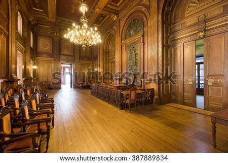 PORTO, PORTUGAL - OCTOBER 15, 2014: Interior of Stock Exchange Palace (Palacio da Bolsa). The palace was built in the 19th century by the city's Commercial Association. - stock photo