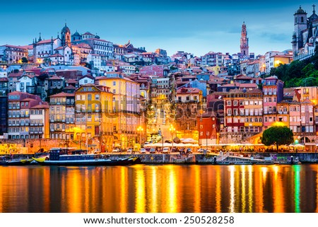 Porto, Portugal  old city skyline from across the Douro River. - stock photo