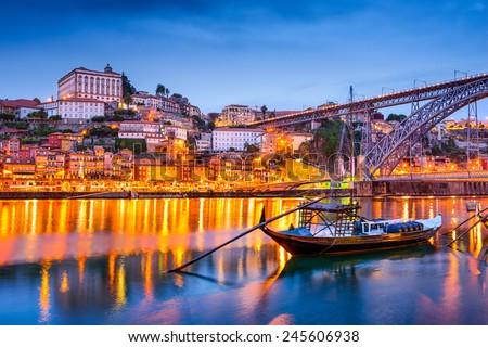 Porto, Portugal old town skyline on the Douro River. - stock photo