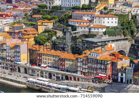 PORTO, PORTUGAL, on June 17, 2017. Authentic buildings make an attractive architectural complex of Douro River Embankment of in downtown. View from Ponte Luis I