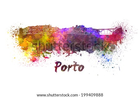 Porto skyline in watercolor splatters with clipping path