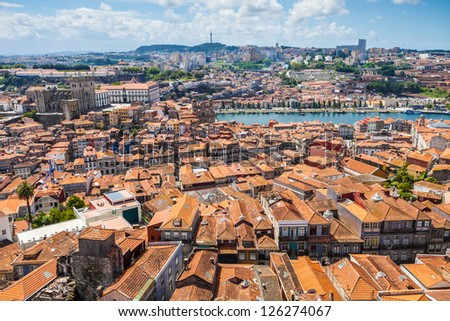 Porto skyline. View of the old downtown, the Cathedral, Douro River and Vila Nova de Gaia caves. Portugal