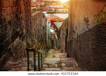Porto, the beautiful city on the north of Portugal - stock photo