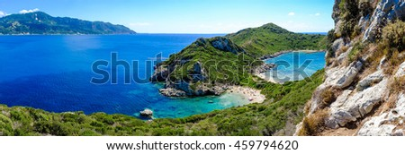 Porto Timoni panorama. The most famous and beautifull beach in Corfu island, Greece. Important tourist attraction.