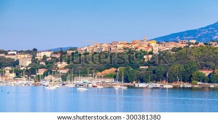 Porto-Vecchio, coastal cityscape, Corsica island, France - stock photo