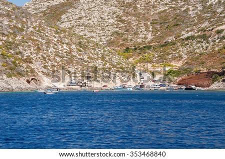 Porto Vromi, small port on Zakynthos Island, Greece - stock photo