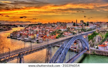 Porto with Dom Luis Bridge - Portugal - stock photo