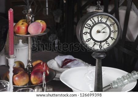 Portobello Road Market . London. old clock at the table - stock photo
