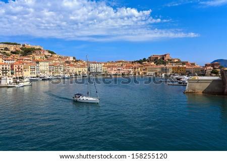 Portoferraio from the sea, Elba island, Tuscany, Italy - stock photo