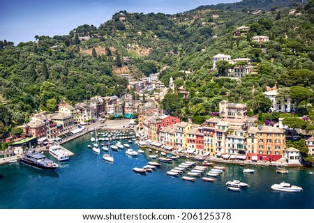 Portofino harbor, on the Italian Riviera near Genoa. - stock photo
