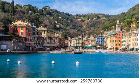 PORTOFINO, ITALY - MAR 7, 2015: Portofino, Italy. Portofino is a resort famous for its picturesque harbour