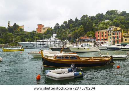 PORTOFINO, LIGURIA, ITALY - JUNE 23, 2015. Rainy evening summer at Portofino Village, popular  attraction on Ligurian Coast, Italy.