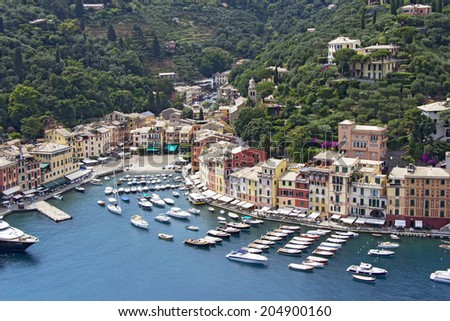 Portofino village, near Rapallo Genova, Ligurian Coast, Italy  - stock photo