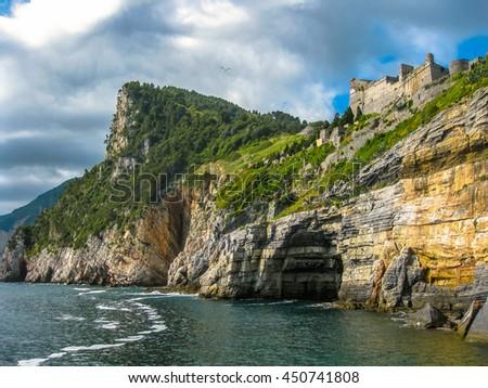 Portovenere, grotta di Byron, beautiful shoreline scenery of Cinque Terre, Ligurian Coast, La Spezia, Italy. - stock photo