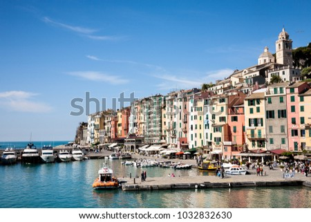 Portovenere, Italy - 2017, April 30 : The harbour and waterfront of the fishing village of Portovenere in the La Spezia province of the Liguria region of northern Italy