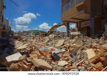 Portoviejo, Ecuador - April, 18, 2016: Building showing the aftereffect of 7.8 earthquake