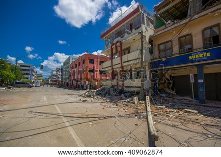 Portoviejo, Ecuador - April, 18, 2016: Building showing the aftereffect of 7.8 earthquake that destroyed the city center, and most of the Manabi province