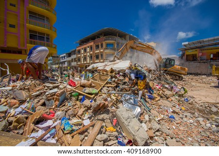 Portoviejo, Ecuador - April, 18, 2016: Rescue team making recovery efforts after 7.8 earthquake