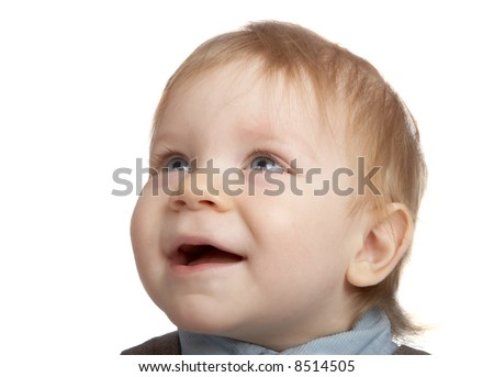 portrait adorable baby on white - stock photo